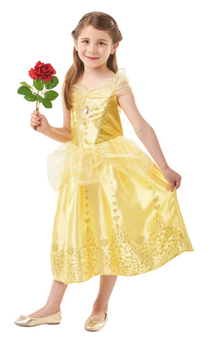 This Gem Princess Belle Costume has a lamé and satin bodice is decorated with a Belle motif, while below the organza peplum, the skirt is fringed with sparling glitter detail.
