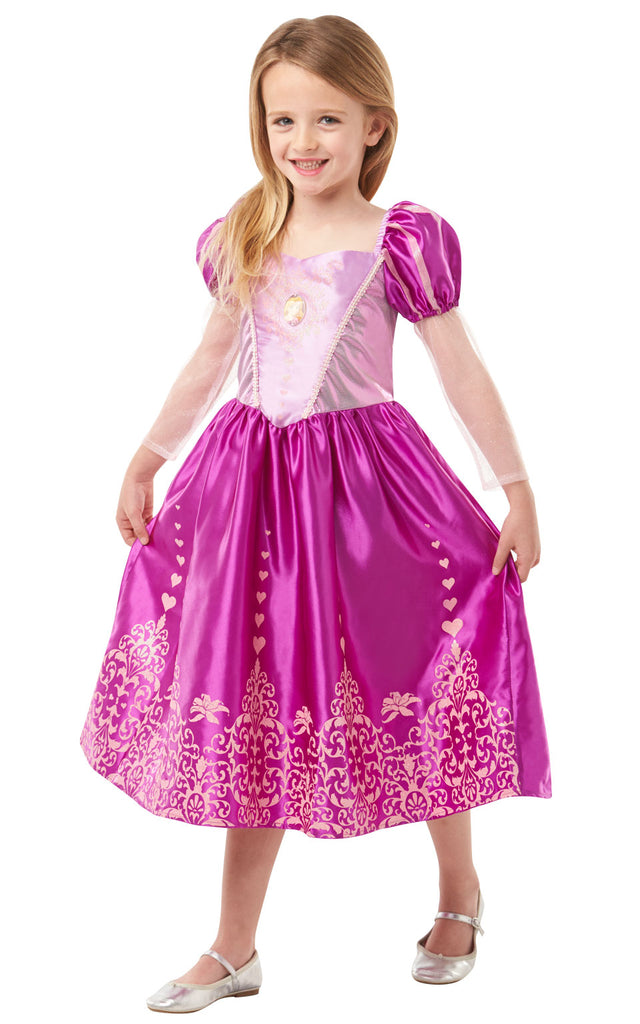 This gorgeous Disney Gem Princess Rapunzel outfit features a dress with Rapunzel iconic puff sleeves. Lam and satin bodice with character gem motif. Satin skirt with organza shimmer plum and sparkly glitter detail.