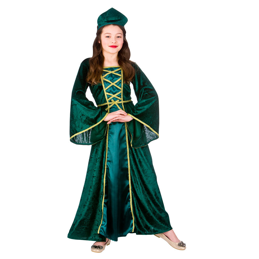 Girl's Medieval Tudor Princess green fancy dress costume.