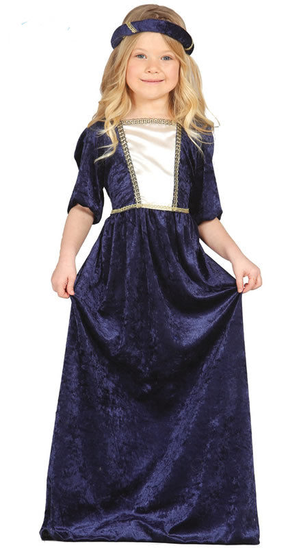 Girls Medieval Lady Costume Blue