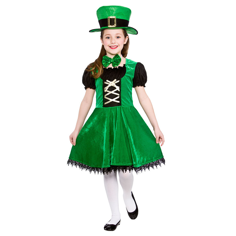 Girls Deluxe Leprechaun fancy dress Irish costume