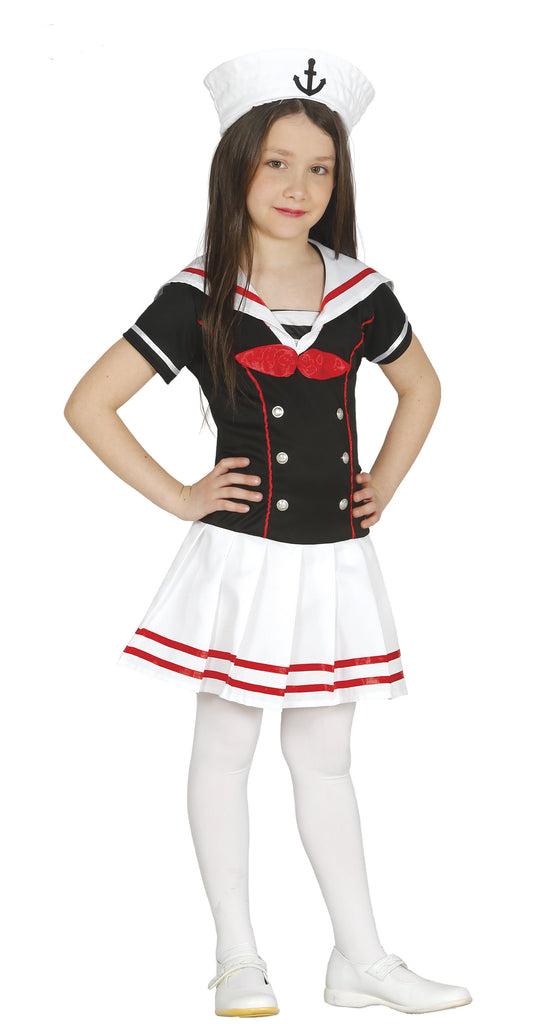 Girls Mariner Sailor outfit includes a black dress with buttons and a red and white collar