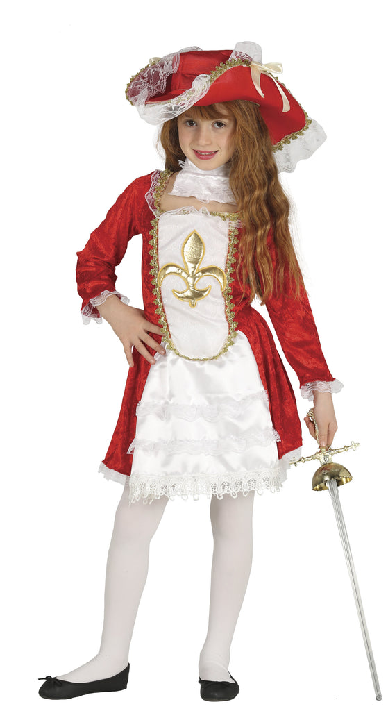 Children's Girl Musketeer red fancy dress costume.
