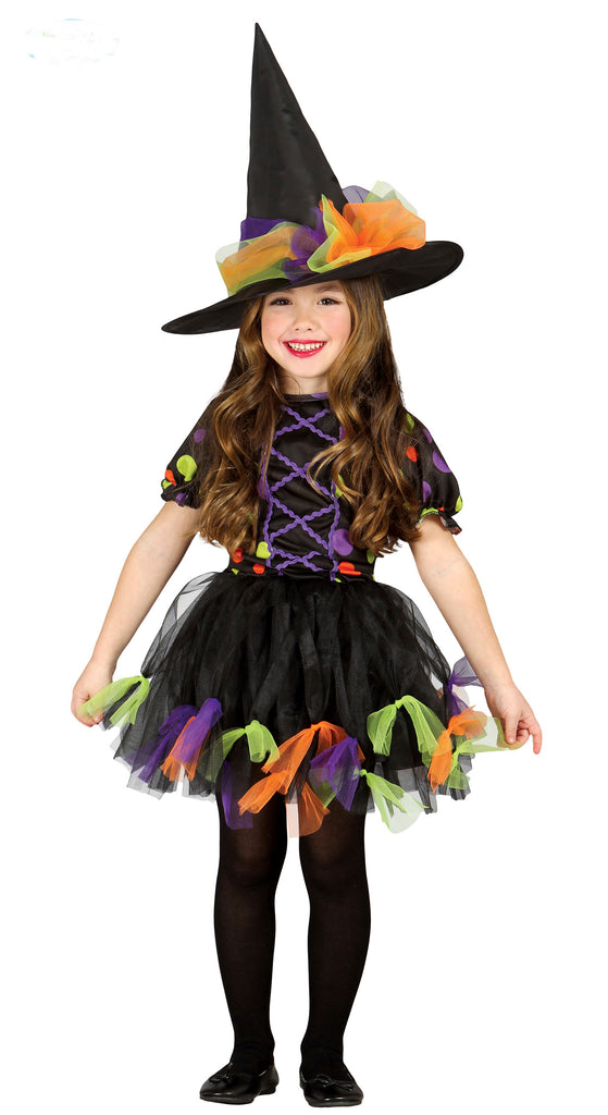 Girls Rainbow Witch Childs Costume