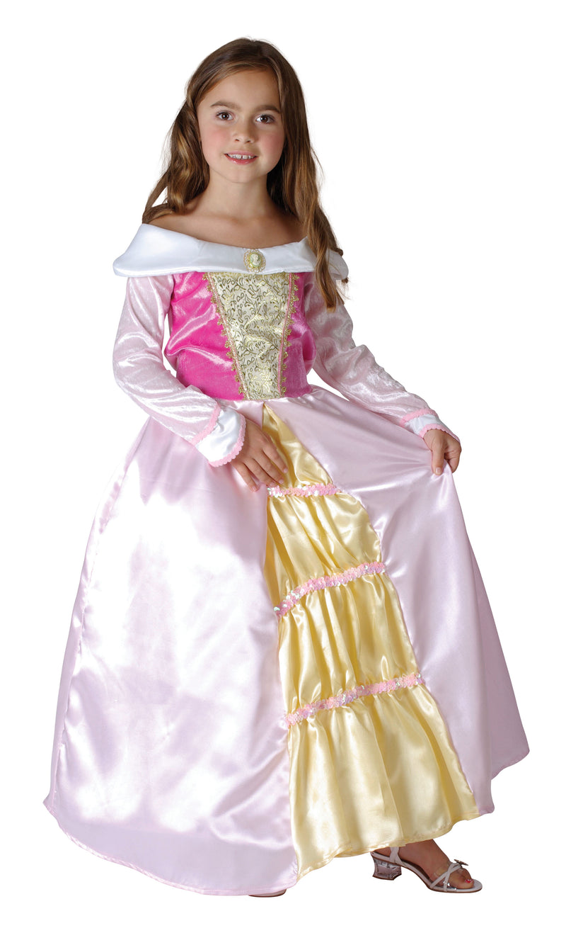 Girls Pink and Gold Sleeping Beauty Princess Costume