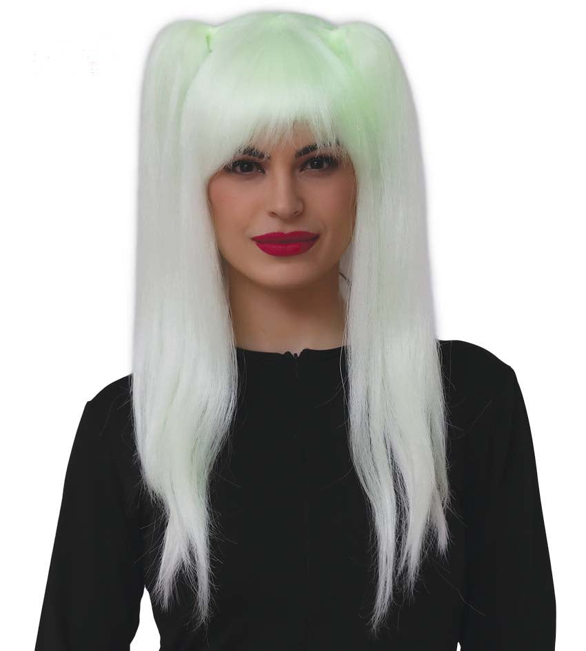 Glow In The Dark Blonde Wig with pigtails.