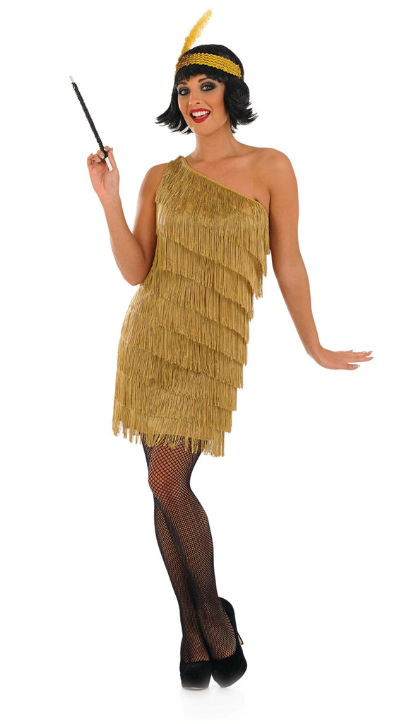 Gold Flapper Dress 1920's Charleston Fancy Dress Costume
