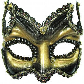Gold and Black Venetian Diavolo Devil Mask