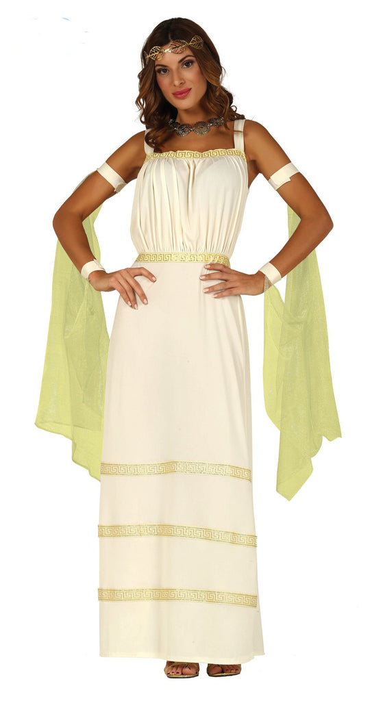 Golden Greek Goddess fancy dress costume for women.