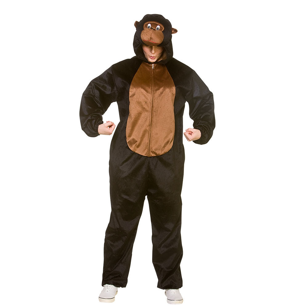 Pound your chest and go ape in our Gorilla Onesie Costume for adults.  This high quality men's black gorilla onesie is perfect to become the king of the jungle at your next dress up party.