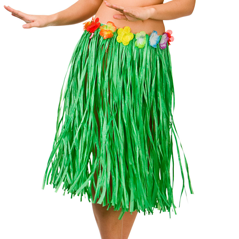 Green Hawaiian grass skirt with flower waist.