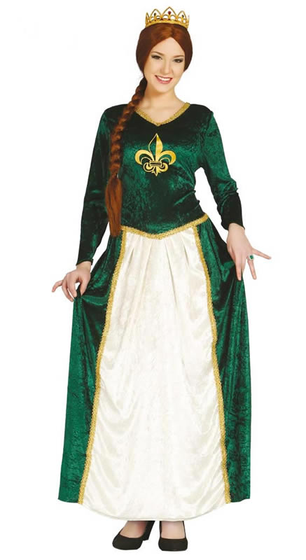 Green Medieval Lady Princess Fiona fancy dress costume.