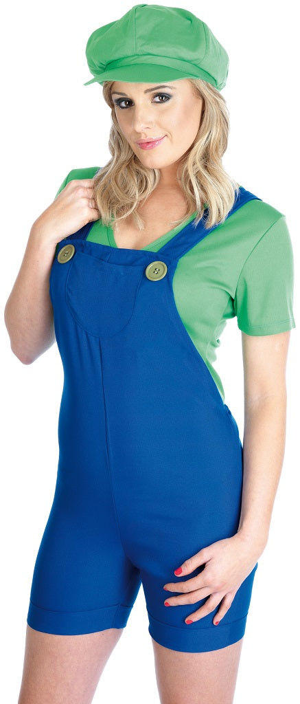 Ladies Green Plumber Mates Luigi Costume includes a pair of blue dungarees with red oversized buttons and a green t shirt.