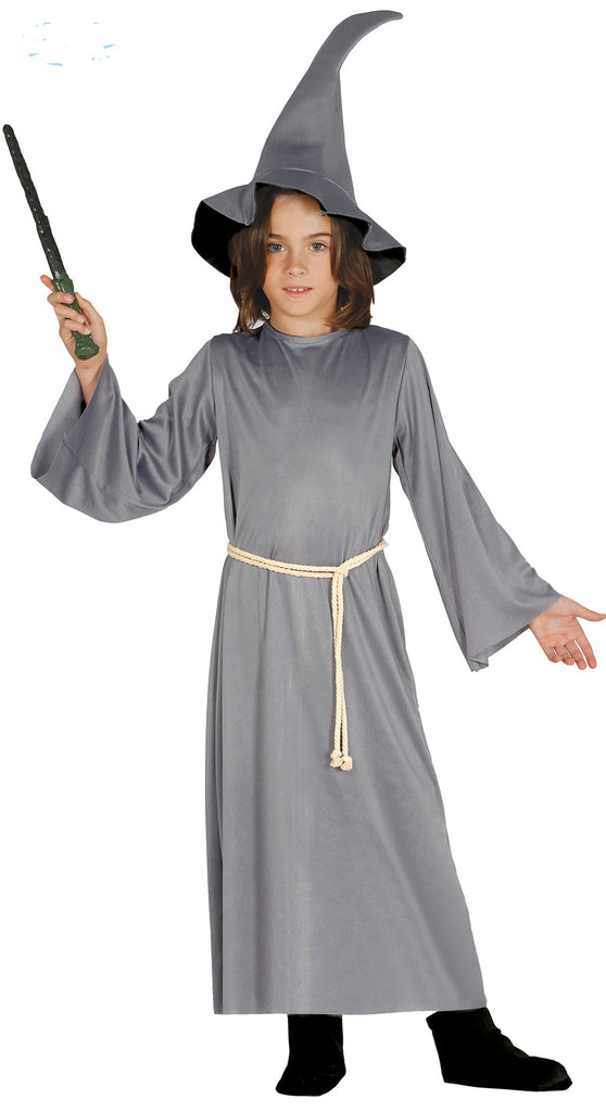 Boys Grey Wizard fancy dress costume.