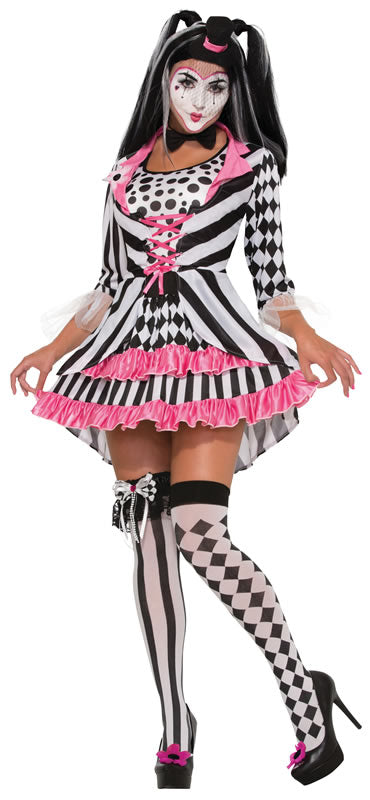 You're sure to turn some heads at the circus or ball in this Ring Mistress Harlequin Clown Costume.
