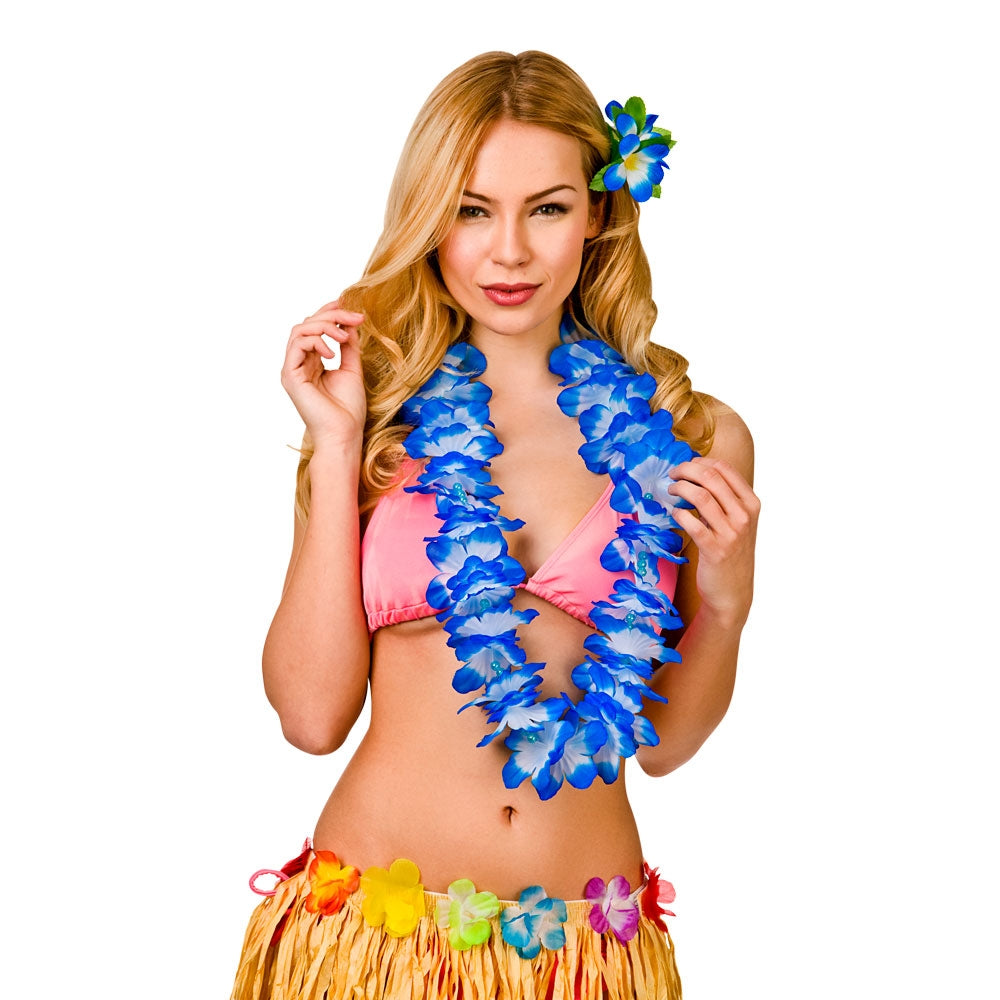 Hawaiian Deluxe blue Lei with beads and 9.5cm Flower