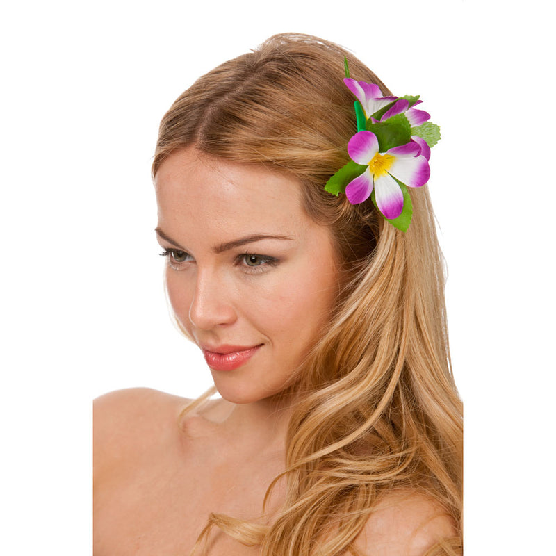 Hawaiian Flower Hair Clip Purple