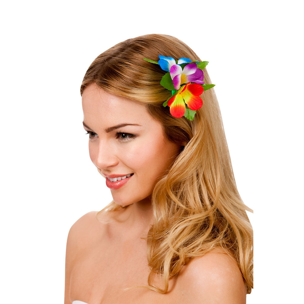 Hawaiian Multi-coloured Flower Hair Clip