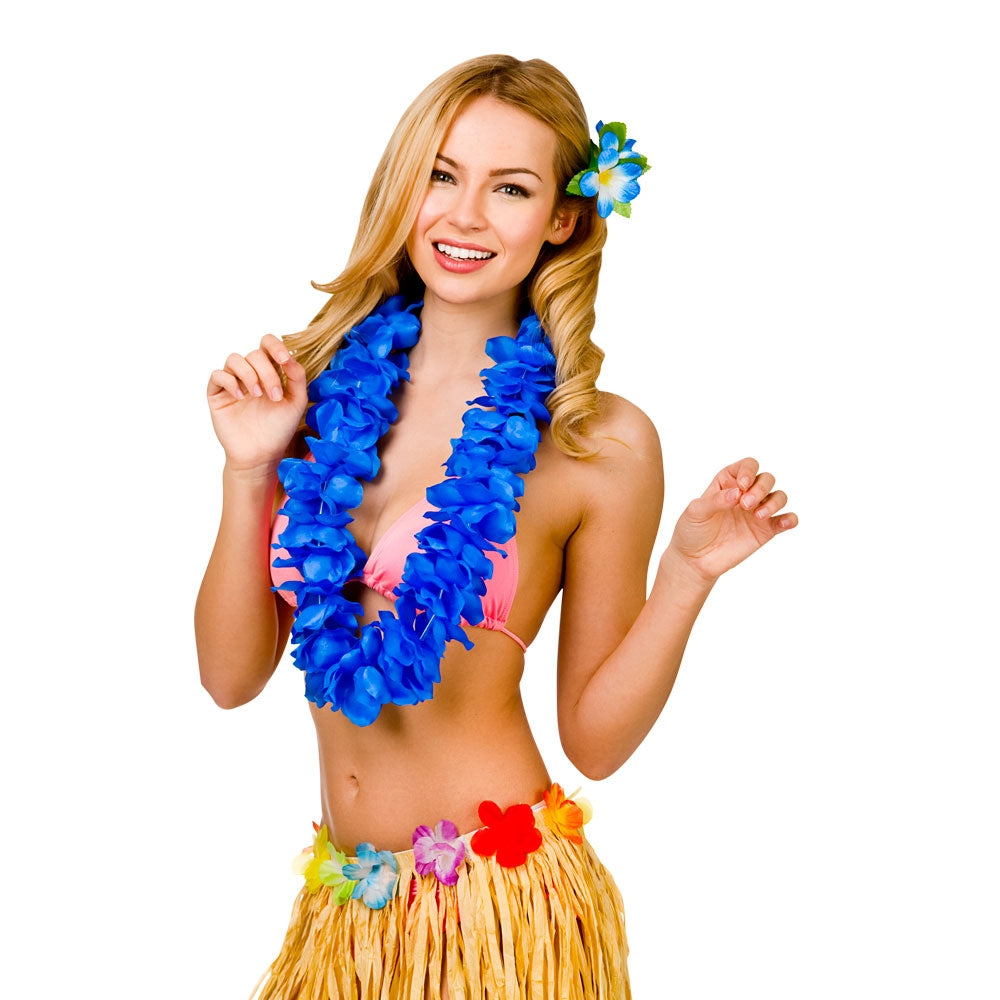 Hawaiian Lei Royal Blue Petal leis.