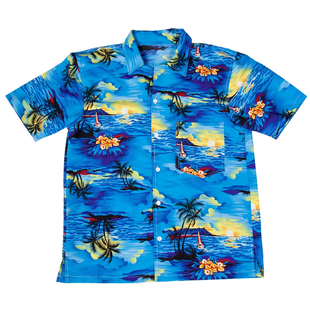 Hawaiian Shirt Blue Palm Trees Men's