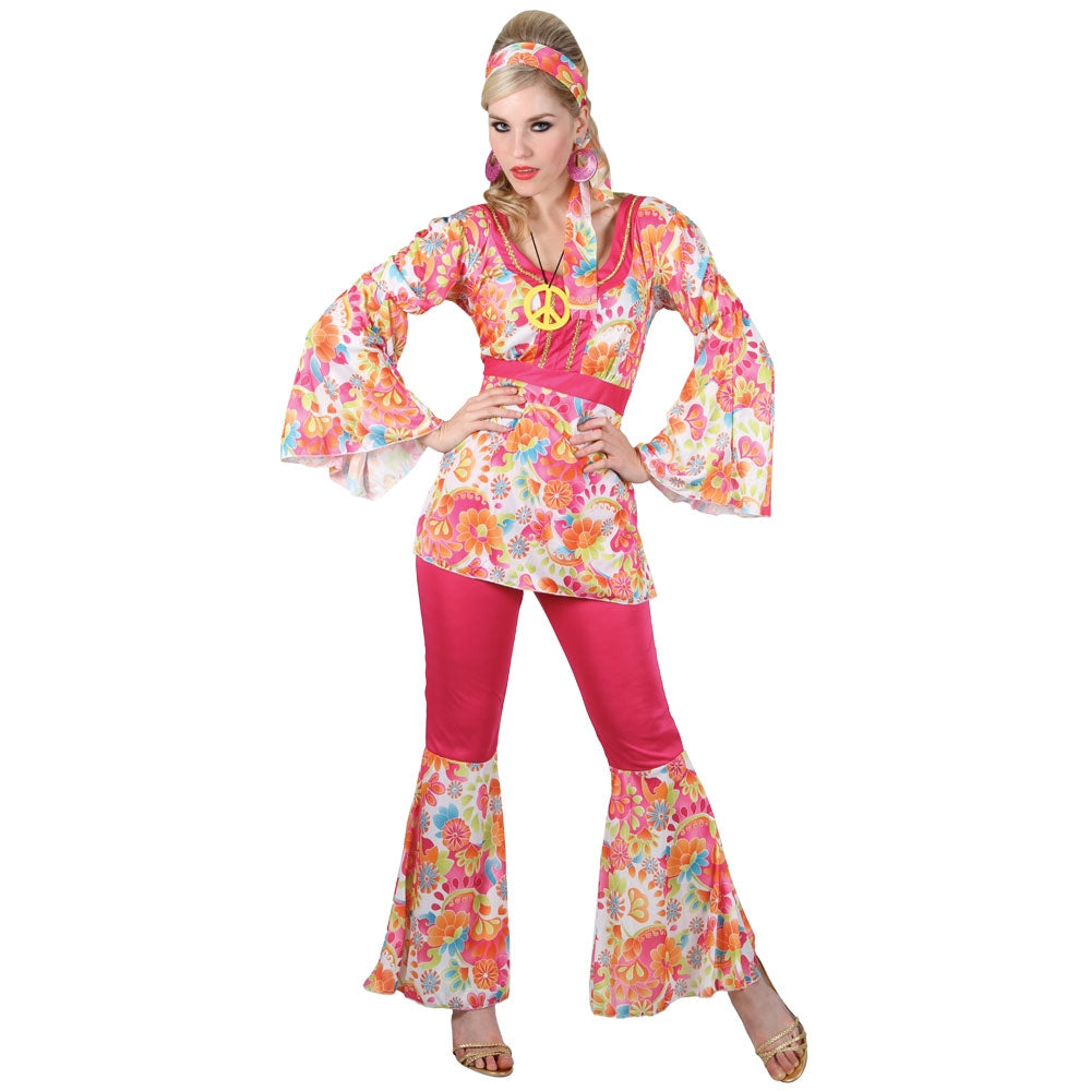 60's Ladies Groovy Hippie Chick Fancy Dress Costume