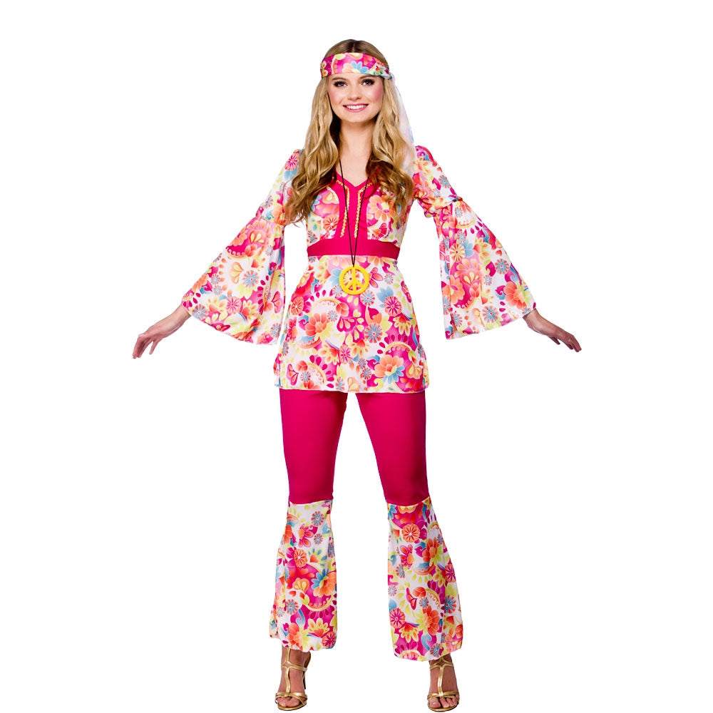 1960's Ladies Groovy Hippie Chick Fancy Dress Costume