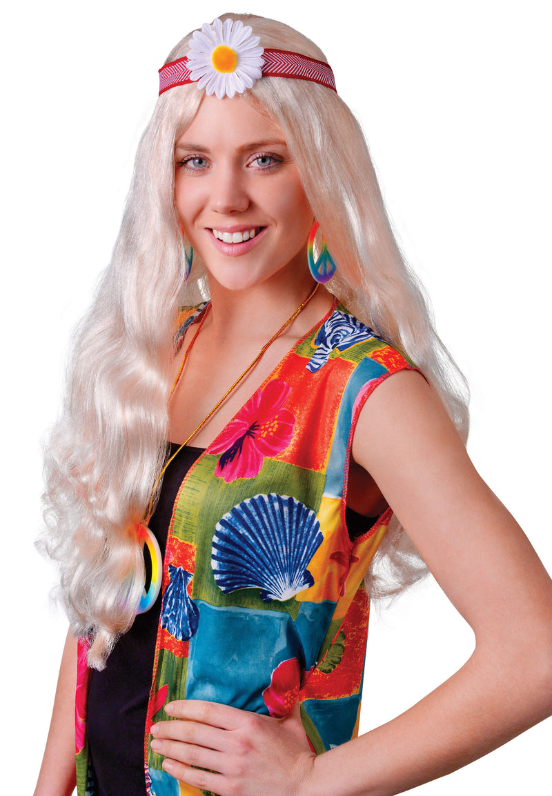 Hippie Lady Blonde 1960's Wig with Flower