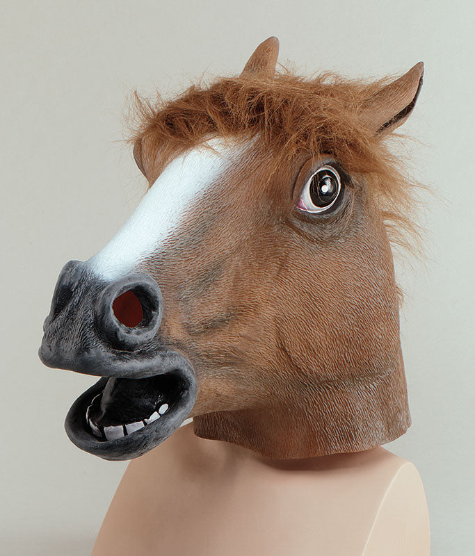 The Horse Head Mask, made from soft vinyl and latex, has become a symbol for anonymity and humor over the internet. Realistic brown latex horse mask with faux fur mane