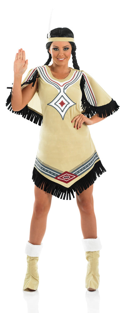 Step in to the wild west with our the Indian Scout costume. The perfect knee-length dress will guarantee to make a stunning entry into any Indian themed fancy dress costume party.