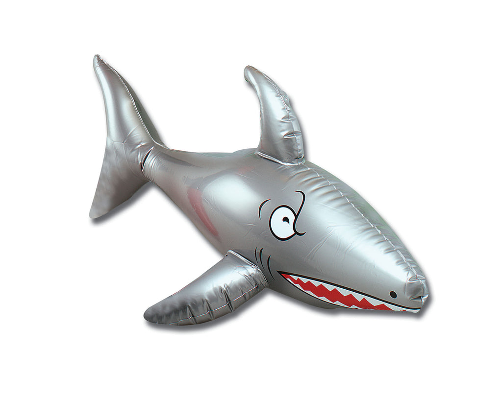 Grey 60cm inflatable shark prop for theme parties.