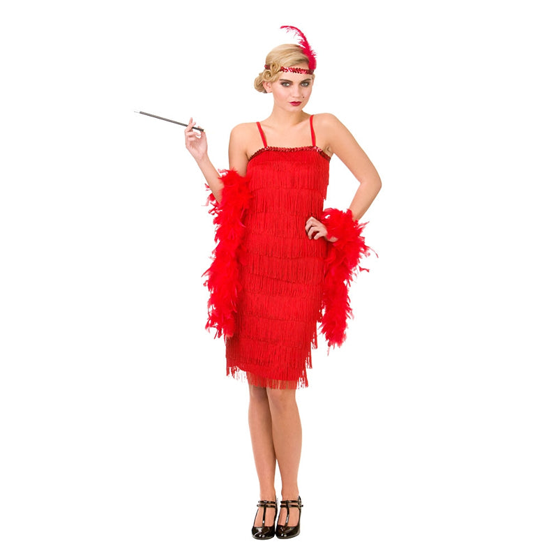 Rewind to the roaring twenties and look like a Great Gatsby girl when you wear our stunning Adults Jazzy Red Flapper fancy dress costume