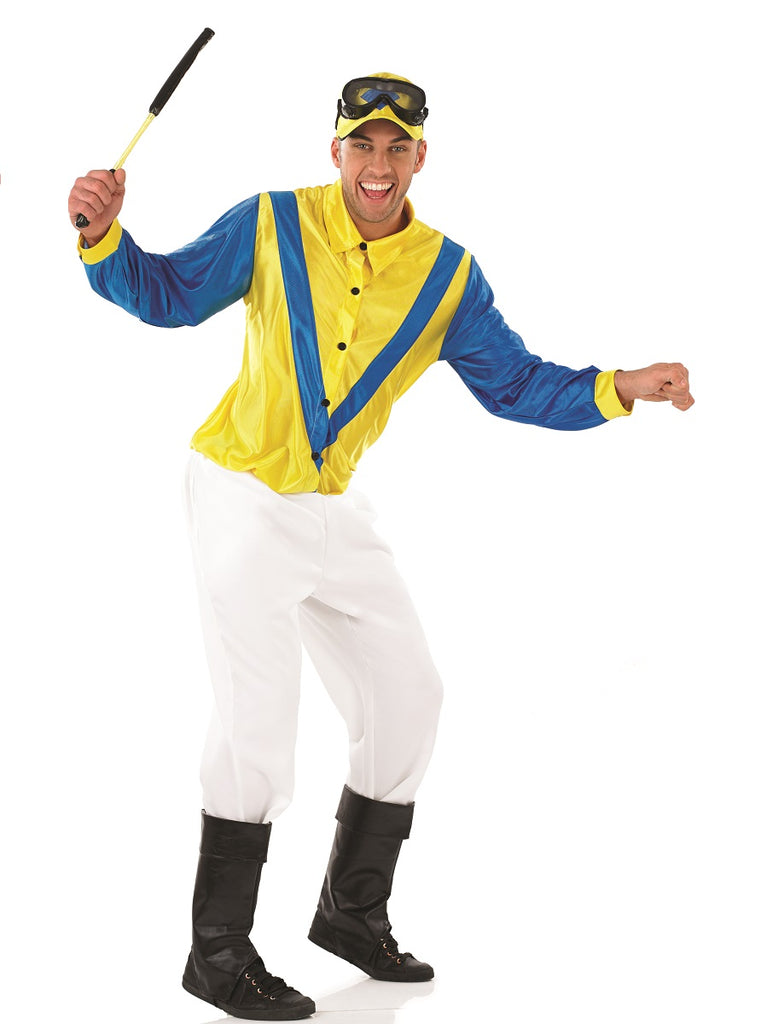 Bright and cheerful, this Derby style Jockey Costume Blue and Yellow is not for the cautious man.