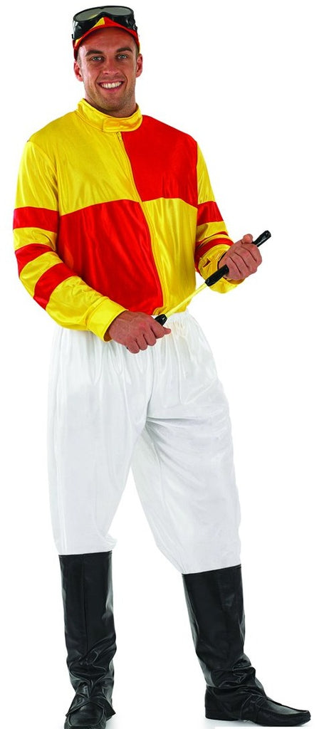 Adult Jockey men's Costume Red and Yellow