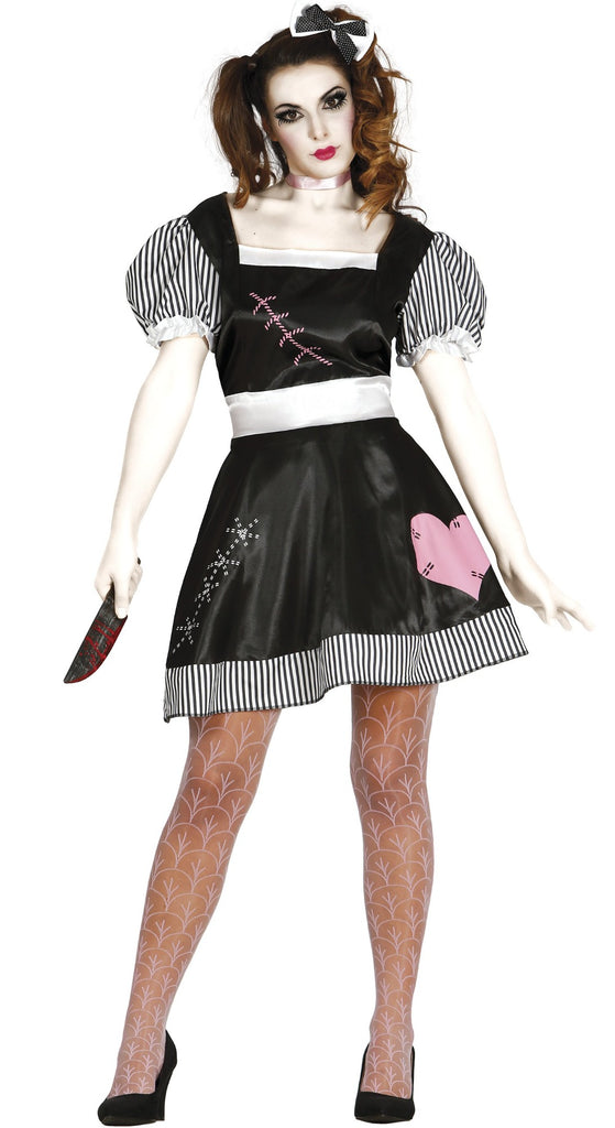 Ladies Killer Doll outfit features a black dress with puff black and white striped short sleeves