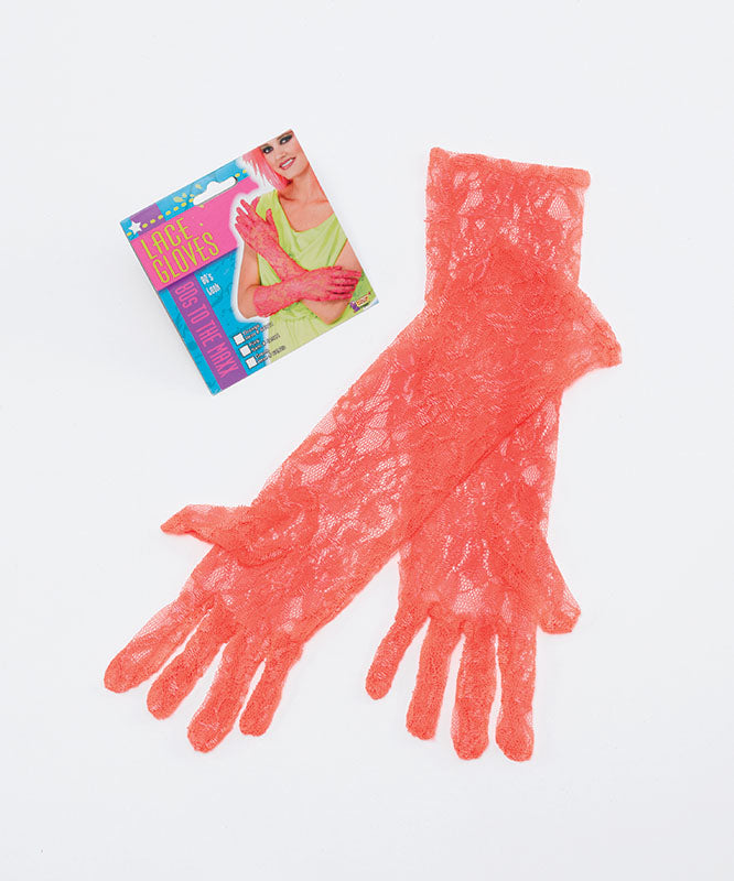 1980's Lace Gloves Orange