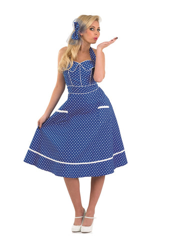 In a striking blue colour this Ladies 50's Blue Dress Costume halterneck swing dress looks amazing.