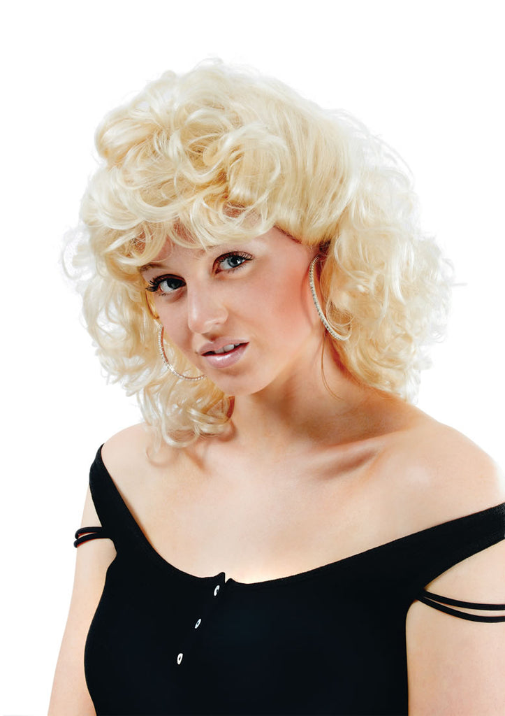 This 1950s High School Wig is perfect for adding the finishing touches to dress as Sandy from Grease!  This gorgeous wig is Blonde with Curls for that 1950s rockabilly look.
