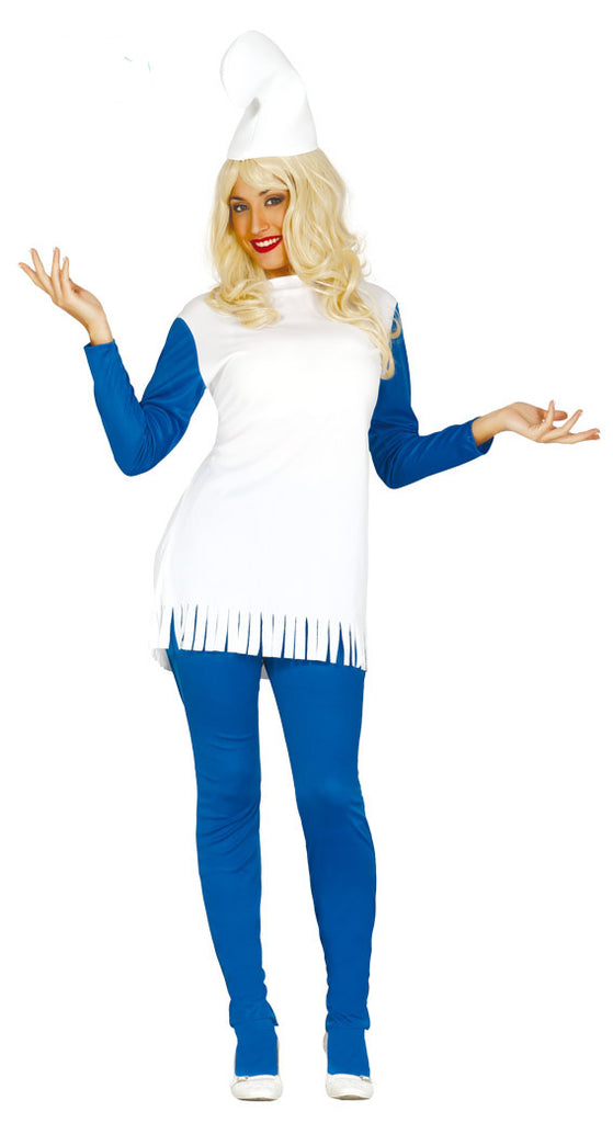 This ladies Smurfette outfit consists of a white and blue shirt and trousers and also includes is a white Smurf hat