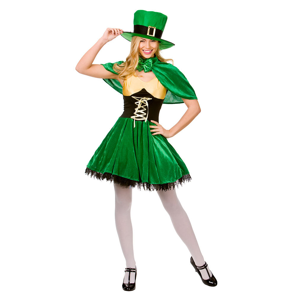 Ladies Irish Lucky Leprechaun fancy dress costume.