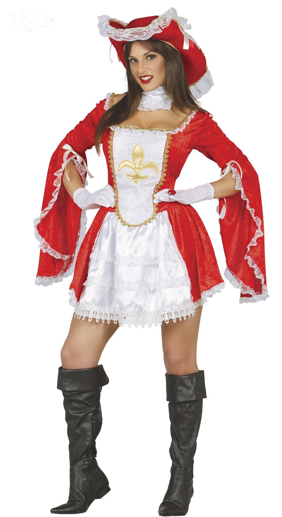 Ladies Musketeer Fancy Dress Costume Red