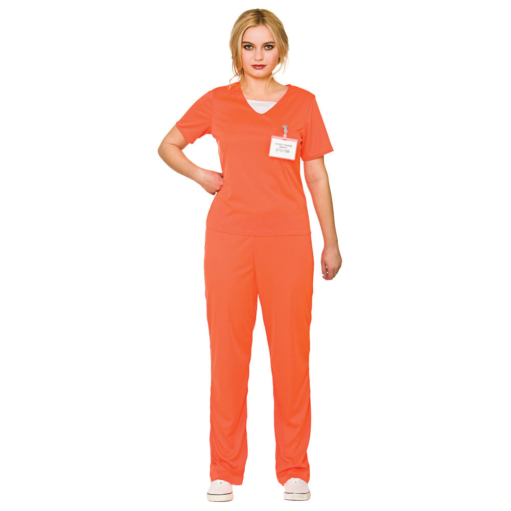 Ladies Orange Convict Prisoner Costume