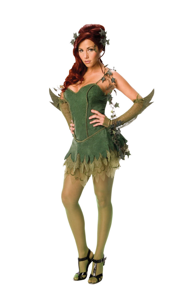 Our Poison Ivy costume includes a fitted green, velvet-look dress, pretty green elbow length glovelets. Also included is green leaf headpiece and a green boa