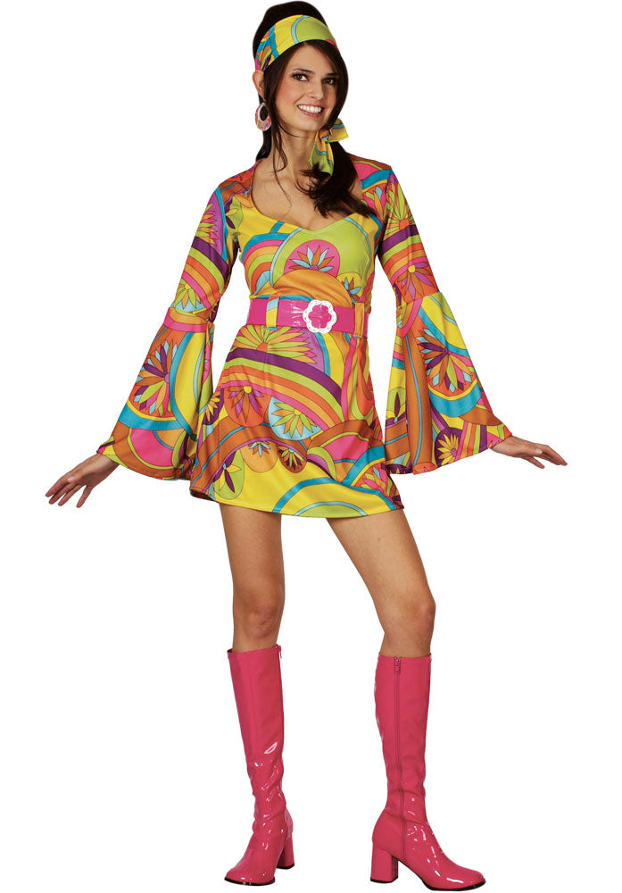 Ladies Retro 1960s Go Go Girl fancy dress Costume