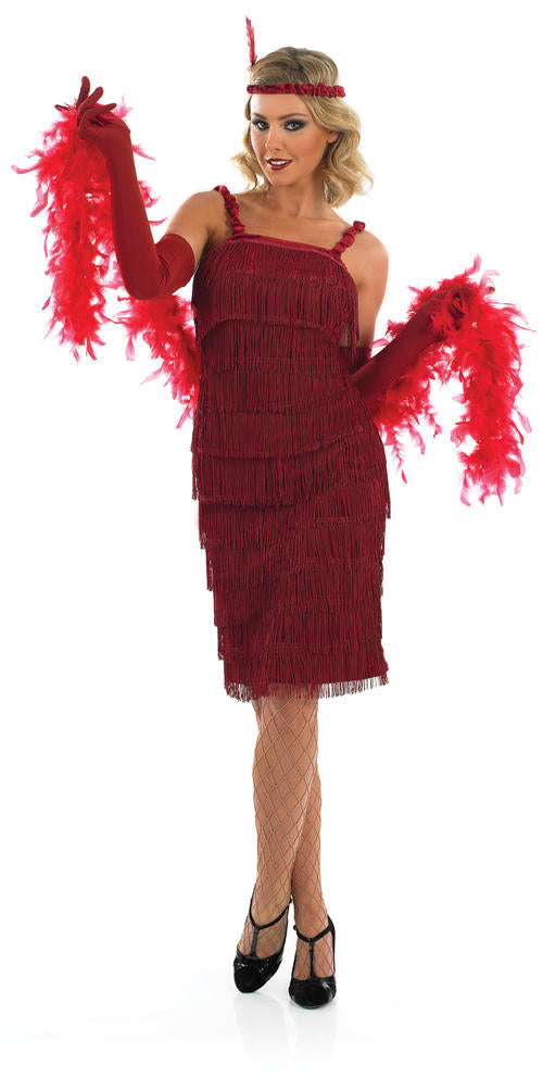 Dance the Charleston, swing like you mean it and shimmy around the dance floor in this elegant Ladies Roaring 1920's Girl Red Flapper Dress.