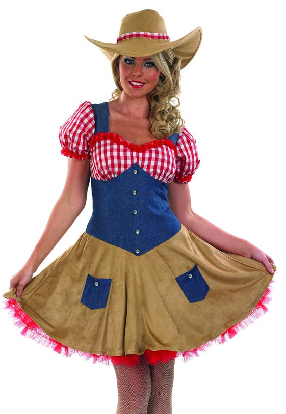 Turn some cowboys heads at the ranch or barn dance in our Ladies Sexy Cowgirl Fancy Dress Costume.