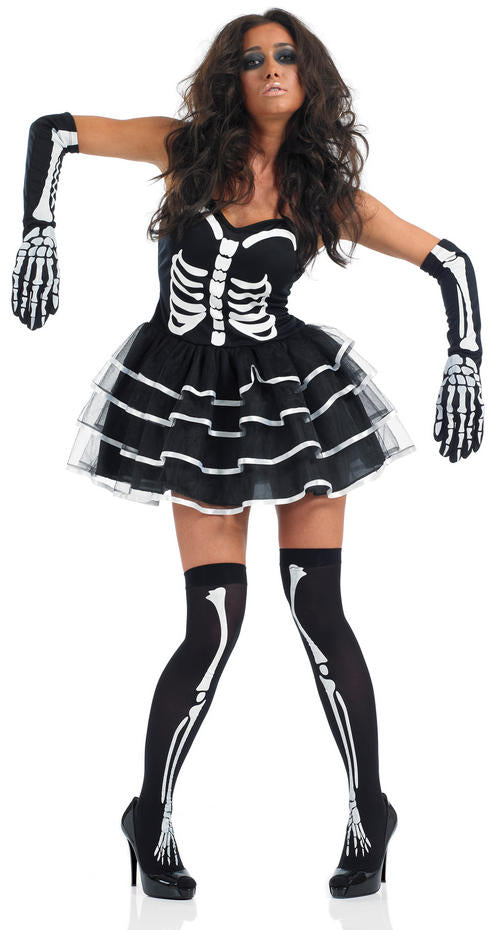 Ladies Skeleton Tutu Dress Halloween Fancy Dress Costume