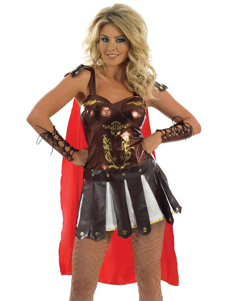 Join King Leonidas and his army in the battle against the Persians as a lady Spartan in this fancy dress costume.