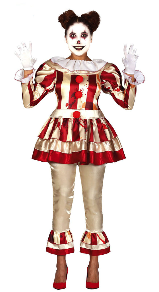 Ladies Crazy Striped Clown Halloween Adult Costume