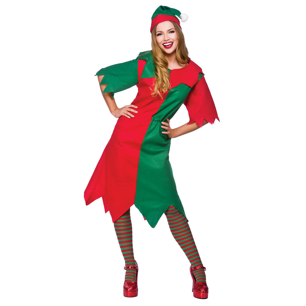 Ladies Christmas Elf Fancy Dress Costume
