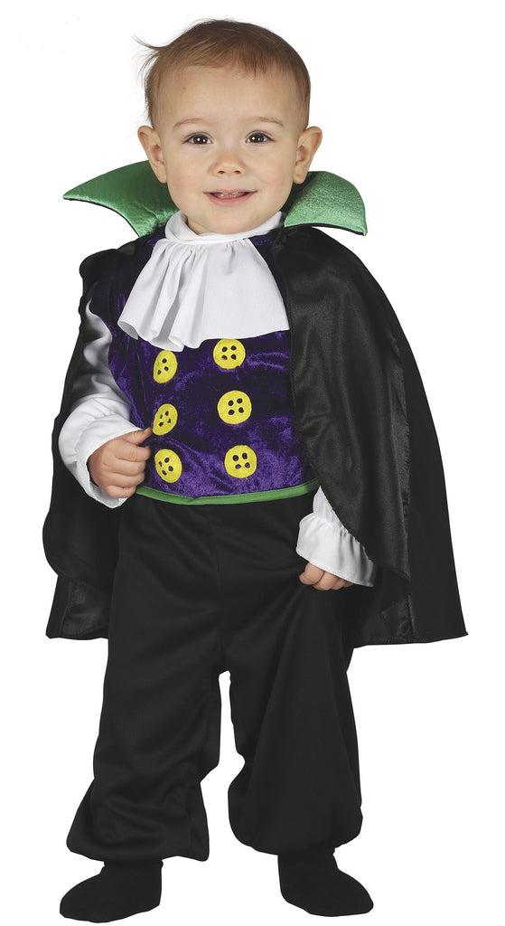 The Toddler Vampire outfit consists of top, trousers with jabot and cape